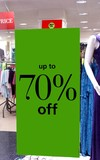 sign.sale. up to 70% off.sign in a store.lights poster