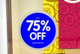 sign. up to 75 % off. big sale.sale. poster