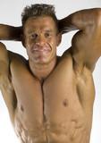 smiling bodybuilder poster
