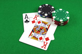 big slick - ace king with poker chips poster