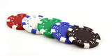 poker chips on an isolated background poster