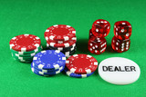 poker chips and 5 dice poster