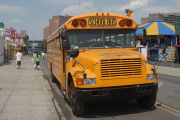 school bus in coney island, new york city