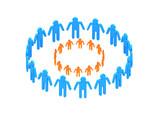 logotype orange circle in blue big circle poster
