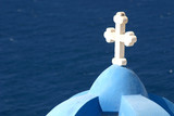 white cross on blue church dome poster