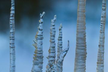 frozen water on a dark blue background.