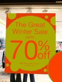 sign.sale.the great winter sale.up to 70% off.stor poster