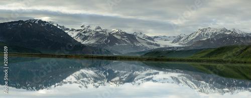 panoramic landscape reflected in lake