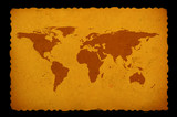 old stained world map poster