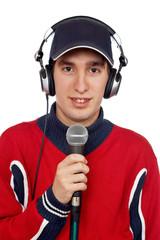 disc jockey with headphones and microphone