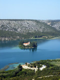 monastery in beatiful krka river in croatia poster