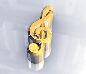 simbolo chiave di violino in oro