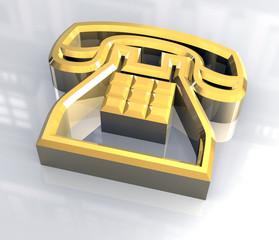 simbolo del telefono in oro cavo