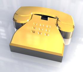 simbolo del telefono in oro pieno