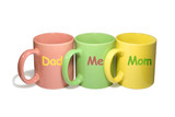 three colorful mugs -  dad, me, mom (family) poster