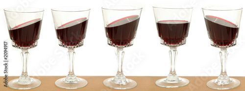 five wineglasses on a line