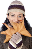 attractive lady sheltered for the winter poster