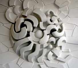 ornament on the wall, natural light