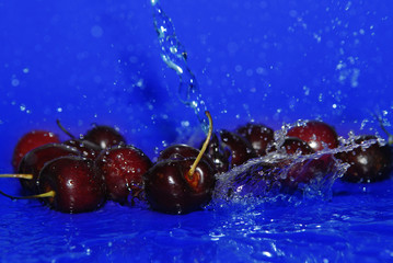 water drops on cherry