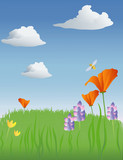 spring meadow illustration poster