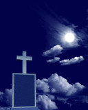 cross on moonlit night poster