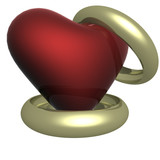 two wedding rings with heart. the 3d  image. poster