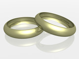 two wedding rings with reflection. the 3d  image. poster