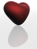 red heart with reflection. the 3d  image. poster