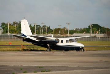 crash landed airplane on runway