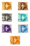 historic british colony post stamps - india poster
