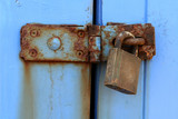 old rusted latch and padlock poster