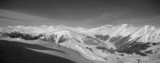 grayscale mountain panorama poster
