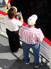 tourists aboard a riverboat
