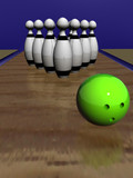 game of bowling. 3d the image. ten figures and a sphere. poster