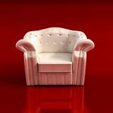 classic armchair 3d rendering poster
