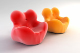 modern armchair 3d rendering poster