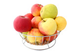 basket full of apples - pure white background #2 poster