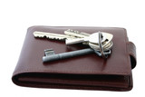 bunch of keys on brown leather wallet poster