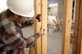 construction electrician measuring poster