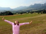 girl joy in field poster