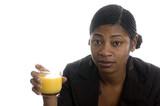 pretty woman drinking orange juice poster