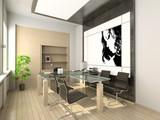 design of modern office. hi-tech interior. poster