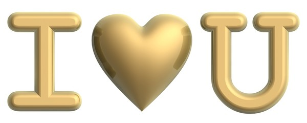 golden i love you symbol