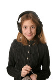 funny girl with headphones poster