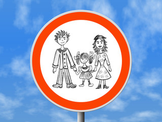 round sign happy family