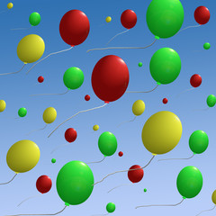balloons on blue sky