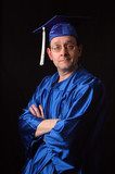 man with graduation gown and cap poster