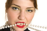 glamour model biting a pearl necklace poster