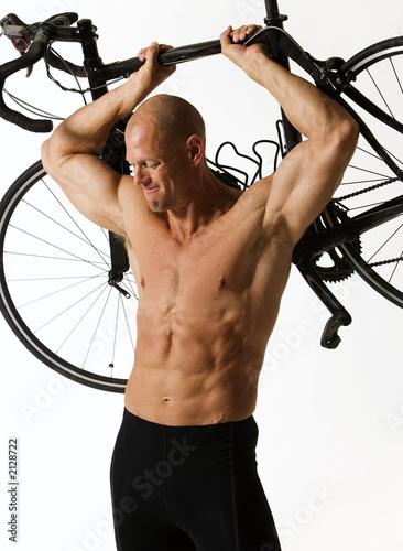 Leinwandbild Motiv man holding bike iii