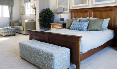 large blue bedroom